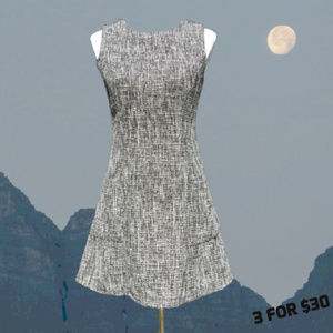 A-Line Dress Tweed Sleeveless Gray M